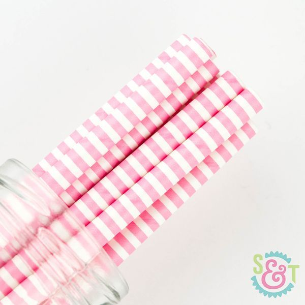 Pinstripe Paper Straws: Light Pink