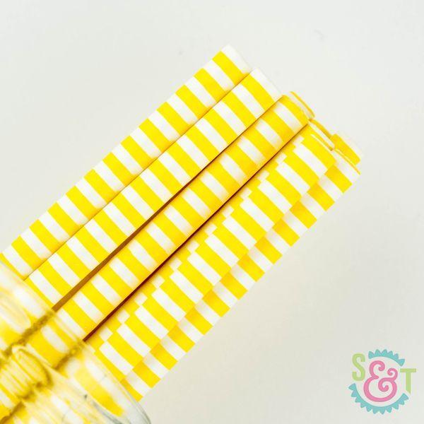 Pinstripe Paper Straws: Yellow