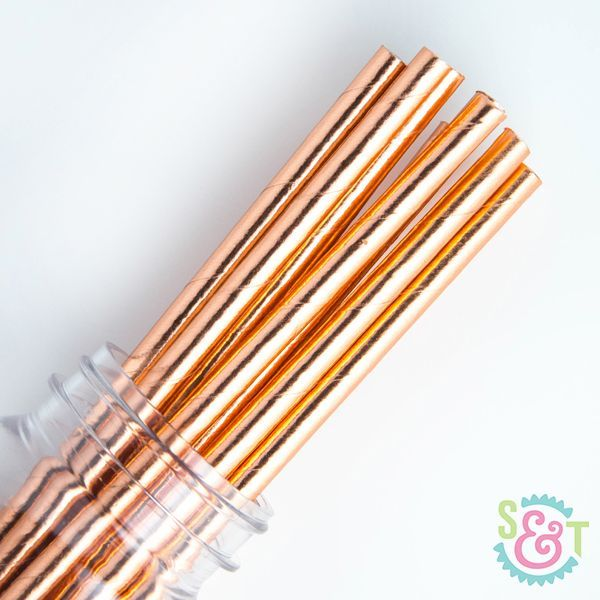 Solid Paper Straws: Rose Gold Foil