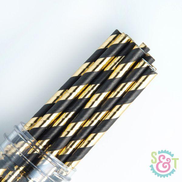 Stripe Paper Straws: Black/Gold Foil